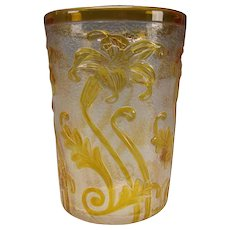 Antique Webb English Lily HEAVY Carved Cameo Glass Vase Signed c1910