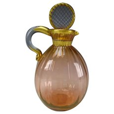 c1915 Daum Nancy Fine French Ribbed Glass Decanter Jug
