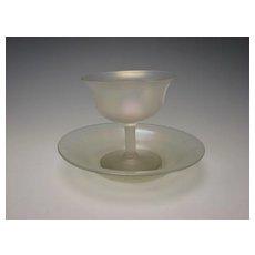 Antique Steuben Carder VDS Iridescent Parfait/Sherbet Cup Plate Saucer