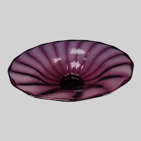 Large Steuben Amethyst Art Glass Ribbed Bowl