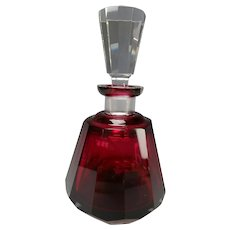 Art Deco Bohemian Moser Cranberry Cut Glass Decanter