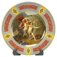 Antique Royal Vienna Hand Painted Porcelain Portrait Plate Achilles