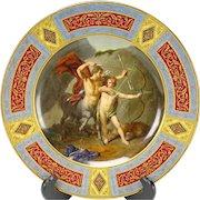 Antique Royal Vienna Hand Painted Porcelain Portrait Plate Achilles