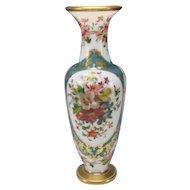 Great c1870 Baccarat Jean Francois Robert Hand Painted Opaline Glass Vase