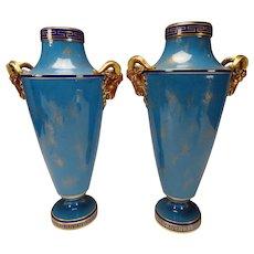 Antique 19c Sevres Porcelain Blue Rams Head Vase Pair AF