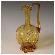 Antique Emile Galle Glass Decanter Pitcher Gilt Jug Enamel Decorated