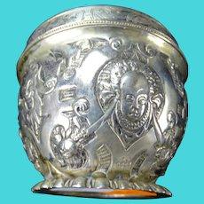 Antique 800 German Silver Repousse Bust Bowl Armorial