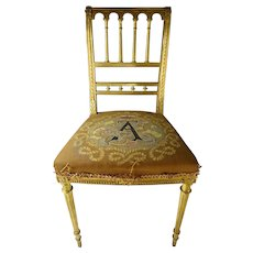 Antique French Louis Philippe Carved Giltwood Ladies Vanity Chair c1840