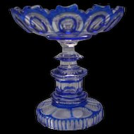 c1850 Russian Imperial Glass Cobalt Blue Cut to Clear Compote Tazza Antique