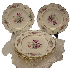 Antique Victorian New Hall Lunch Plates SET of 10 Fine Floral Pattern 1501 c1870