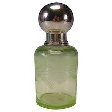 Antique Bohemian or Boston Sandwich Engraved Lily on Vaseline Glass Sugar Shaker Lidded Jar
