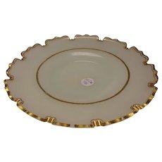 Antique Bohemian/French Opaline Gilt Van Dyke Cut Rim Charger Plate c1860