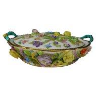 Antique 19c Large Minton Potpourri Floral Encrusted Porcelain Vase/Bowl