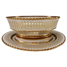 Authentic Royal Vienna Porcelain China Reticulated Elegant Gilt Bread Basket and Tray