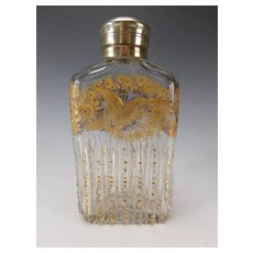 Antique Moser Bohemian Engraved Parcel Gilt Cut Glass Liquor Flask Decanter
