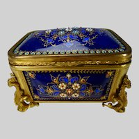 Antique French Limoges Tahan Enameled Jewelry Box Casket