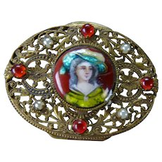 Antique French Portrait Jeweled Enamel Reticulated Powder Box AF