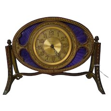 French Amethyst Guilloche and Bronze Desk/Table Clock