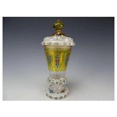 Antique Bohemian Hand Enameled Cased and Cut Bohemian Glass Pokal Lidded Stein