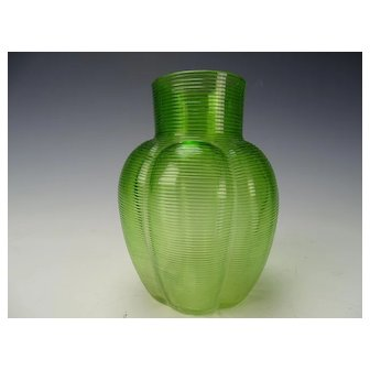Antique Bohemian Moser Lobed Threaded Green on Clear Glass Vase