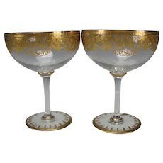 Antique Josephinenhutte Moser Bohemian Elegant Ornate Gilt Glass Footed Compote PAIR