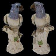 Antique Italian Ginori Capodimonte Porcelain Bird Parakeet Lovebird Figurines PAIR