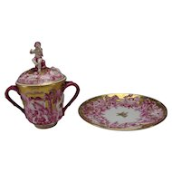 Antique Ginori Italian Porcelain China Large Figural Lidded Handled Cup and Plate/Saucer