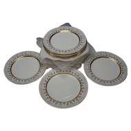 Antique Minton China Enamel Gilt Porcelain Dinner Plate SET of 12