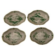 Antique Meissen Green Indian Painting German Porcelain Salt Dish Dip SET of 4