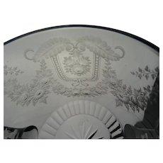Antique Bohemian Cut & Engraved Lidded Jar c1900 Top Quality