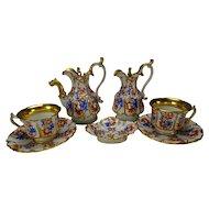 19th Century Old Paris Porcelain Antique Tete a Tete Cup Saucer Teapot Set