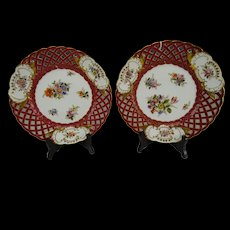 Antique Dresden Hand Painted Flowers Reticulated Plate Pair