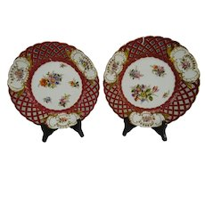 Antique Dresden Porcelain Hand Painted Flowers Reticulated Plate Pair