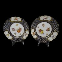 Antique c1890 Dresden Cobalt Blue Reticulated Porcelain Plates Pair