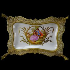 Antique Sevres Style Gilt Brass Paris Porcelain Tazza Tray