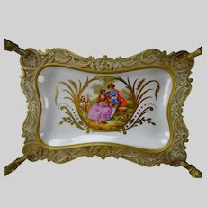 Antique Sevres Style Gilt Brass Paris Porcelain Tazza Tray