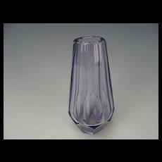 Vintage Moser Light Amethyst Cut Faceted Glass Vase