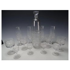 Zahour Podebrady Bohemia Art Glass Decanter Drinking SET 13 Pieces