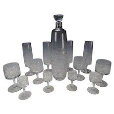 Zahour Podebrady Bohemia Art Glass Decanter Drinking SET 13 Pieces