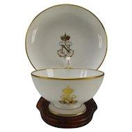 Antique Sevres Porcelain Tea Cup Saucer Underplate Napoleon III Crest