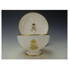 Antique Sevres Porcelain Napoleon III Table Service Tea Cup Saucer Authentic