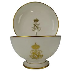 Antique Sevres Porcelain Napoleon III Table Service Tea Cup Saucer Authentic