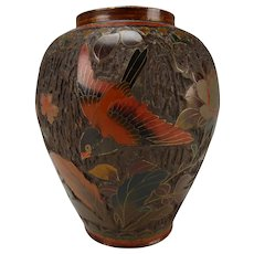 Antique Meiji Japanese Tree Bark Cloisonne Vase