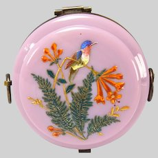Antique Moser Pink Opaline Elegant Enameled Glass Box