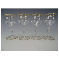 Antique Art Nouveau Bohemian Glass Cordial Shot Apertif Stem Set of 4