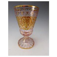 Fantastic Bohemian Lobmeyr Hand Painted Translucent Enamel Wine Glass Stem