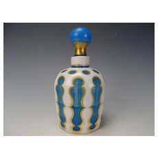 Antique c1850 Bohemian Gothic/Moorish Cut Overlay Perfume Bottle