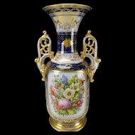 """c1850 Antique OLD Paris Hand Painted Flower Bouquet Porcelain Vase 19 1/2"""""""