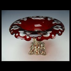 Antique Bohemian Ruby Cut to Clear Van Dyke Rim Ornate Silver Base 19c