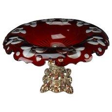 Antique Bohemian Ruby Cut to Clear Van Dyke Rim Ornate Silver Base 19c